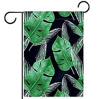 ガーデンフラッグ両面印刷防水グリーンリーフトロピカル 庭、庭の屋外装飾用
