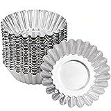 Molde de Tartaleta de Huevo Aluminio - WENTS 40PCS Moldes Mini Tartaletas Molde para Magdalenas Moldes para Hornear Molde del Pudin para Galletas no Adhesivo y Reutilizable Plateado