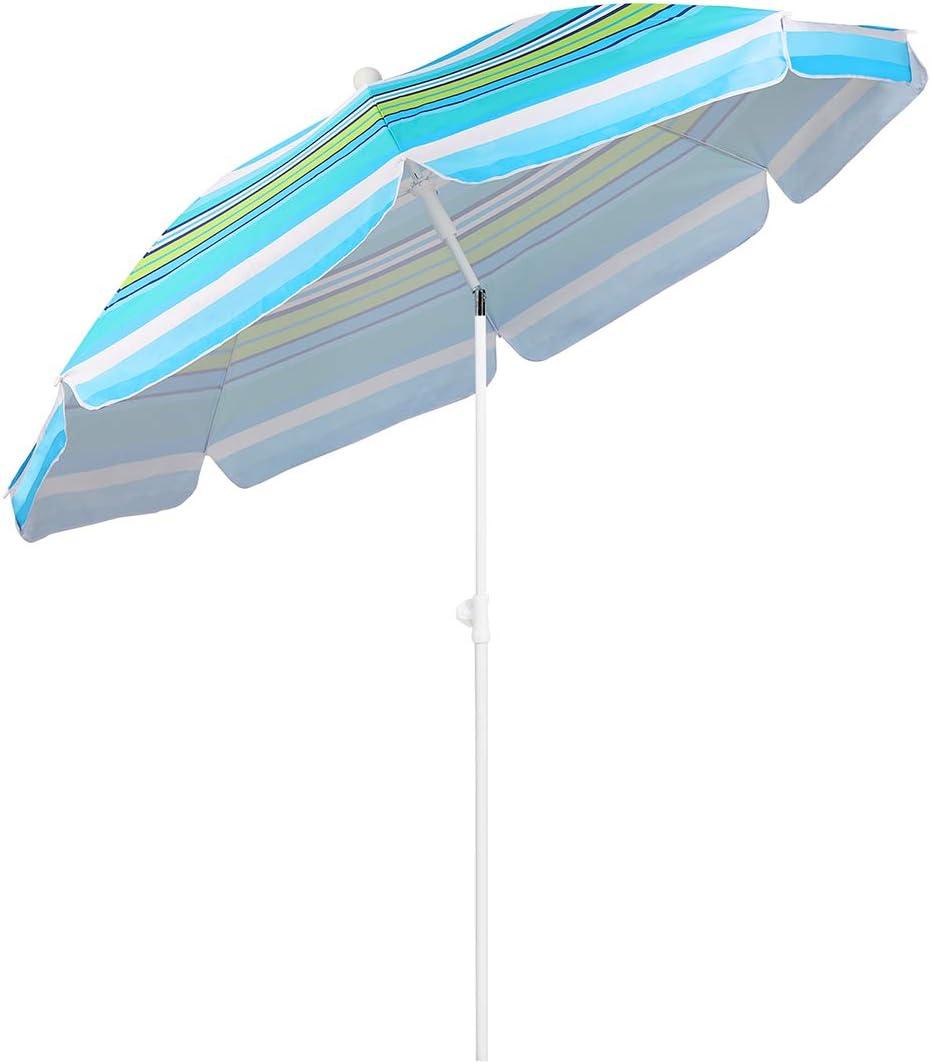 Sekey® Sonnenschirm 200 cm Marktschirm Gartenschirm Terrassenschirm Blaue Grün Streifen Rund Sonnenschutz UV25+