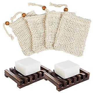 """scheda """"n/a"""" portasapone in bambù da 2 pezzi, portasapone in legno naturale con 4 bustine di sapone, sacchetti di sapone, rete di schiuma, rete di sapone"""