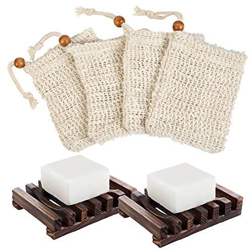 'N/A' 2 Jabonera de Madera Natural Bambú Bandeja de Jabón para Ducha y 4 Red Espumosa de Ramio Natural para la Limpieza Corporal y Facial,para Colocar Jabones de Baño y Esponjas de Cocina