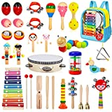 Gouezcc Toddler Musical Instruments Set, 32 PCS 19 Kinds Wooden Percussion Instruments Toys for Kids Playing Preschool Education, Early Learning Baby Musical Toys for Boys and Girls Gift