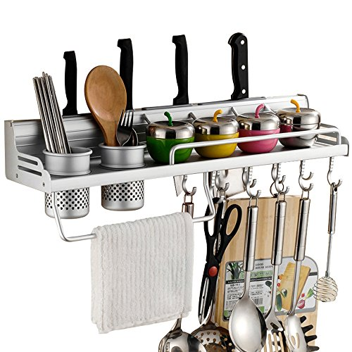 Wall Mounted Pot Pan Rack Multifunctional 6-in-1 Kitchen Bookshelf Storage Rack with Bottle Rack Silverware Caddy Cutlery Blocks Hanger Hooks Pot Organizers Space Aluminum (23inch 2Cups 10Hooks)