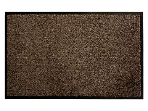 Primaflor - Ideen in Textil Schmutzfangmatte CLEAN – Braun 40x60 cm, Waschbare, rutschfeste, Pflegeleichte Fußmatte, Eingangsmatte, Küchenläufer Sauberlauf-Matte, Türvorleger für Innen & Außen