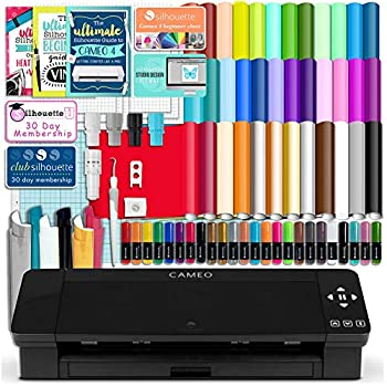 Silhouette Black Cameo 4 Starter Bundle with 38 Oracal Vinyl Sheets T-Shirt Vinyl Transfer Paper Class Guides and 24 Sketch Pens