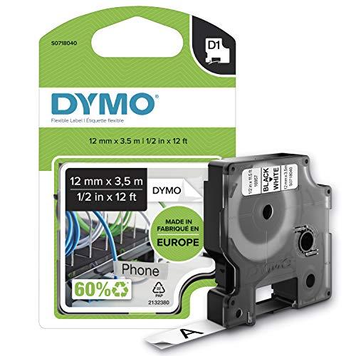 DYMO D1 Nylon Etikettenband Authentisch   schwarz auf weiß  12 mm x 3,5 m   selbstklebendes Schriftband   für LabelManager-Beschriftungsgerät