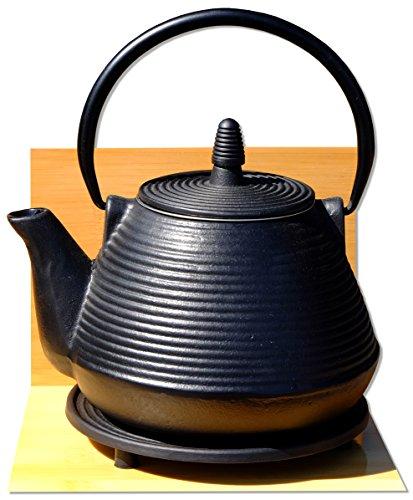 Salvamanteles Samurai – Tetsubin – Tetsubin – Tetera de hierro fundido negro – Tetera de té de estilo japonés – 0,95