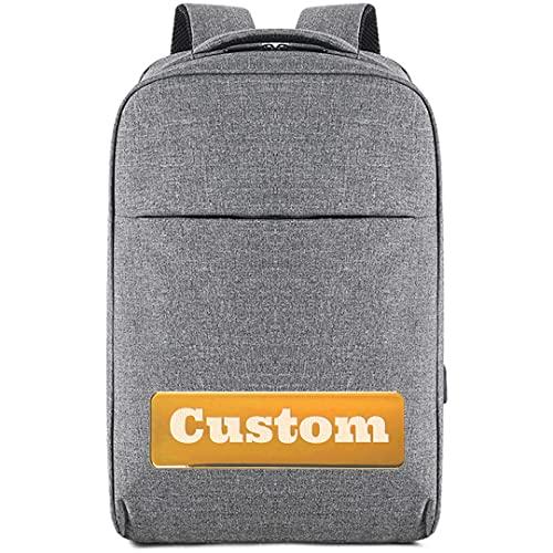Nombre Personalizado Mochila de Negocios Bolsa de portátil para Mujeres 15.6 Puerto de Carga USB Impermeable (Color : Grey, Size : One Size)