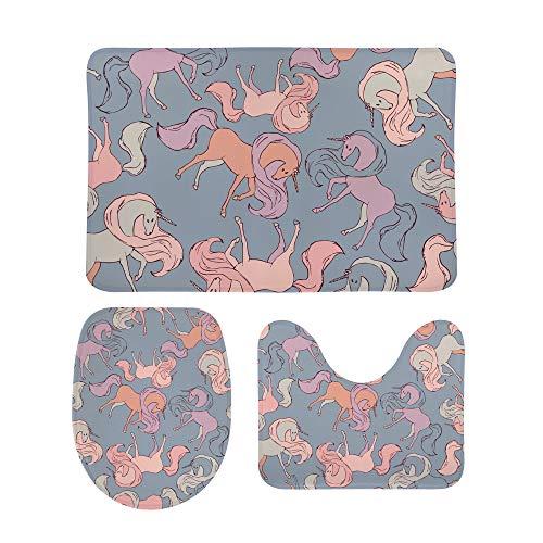 CHEHONG - Juego de alfombras de baño con diseño de perros Corgi (incluye alfombrilla de contorno en forma de U, antideslizante, extra suave, espuma viscoelástica de coral de forro polar, 3 piezas), Terciopelo coral, Color 2, talla única