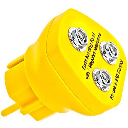 Minadax® Erdungsbaustein - EBP - Innovativer ESD-Schutz - Antistatik Erdungsstecker Schutzkontaktstecker - Deutscher Steckdosen-Standard - 3 x 10 mm Druckknopfbuchse - 1 Megaohm Sicherheitswiderstand
