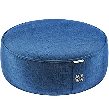 Mindful and Modern Velvet Meditation Cushion - Luxury Zafu Floor Pillow for Yoga - Large Buckwheat Meditation Pillow with Luxe Removable Cover in Six Colors  Royal Navy