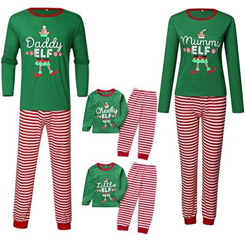 MEIbax Weihnachten Schlafanzug Familien Outfits Mutter Vater Kind Mädchen Junge Nachtwäsche Brief Top + Striped Pants Xmas Familie Pyjama Set
