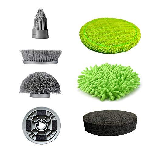 NPOLE 電動お掃除ブラシ バスポリッシャー 風呂掃除ブラシ 風呂ポリッシャー キッチン フロア 床 車などの掃除に適用 軽量 掃除グッズ(6つ替えブラシ)