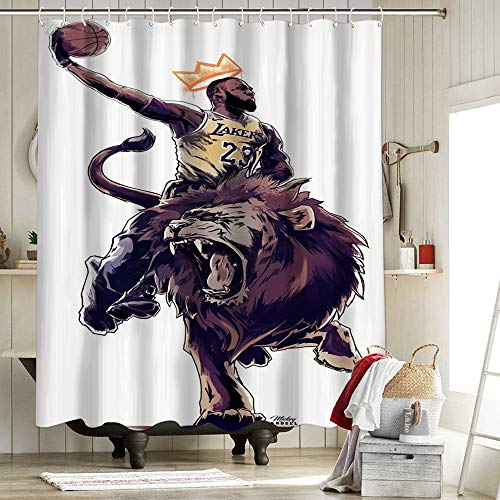 Cortina de ducha de Los Angeles Lakers Championship Farmhouse Heavy Heavy Heavy Heavy Weight Shower Curtain 2020 FMVP Lebron James 23Rd King Crown Art Sports Player Poster 62 x 72 pulgadas