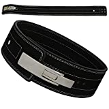 AKS Heavy Weight Power Lifting Gym Belt Leather Lever Pro Belt Gym Training Powerlifting - Lever Buckle - 4'' Lumbar Back Supports and 10mm thick (Black, Small 26'-32')