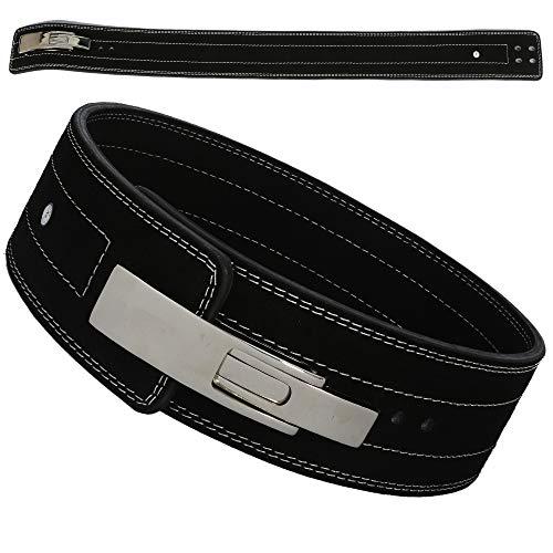AKS - Cintura da palestra per sollevamento pesi, in pelle, per allenamento in palestra, powerlifting, con fibbia a leva, supporto lombare da 10 mm di spessore (nero, grande 86,4-101,6 cm)