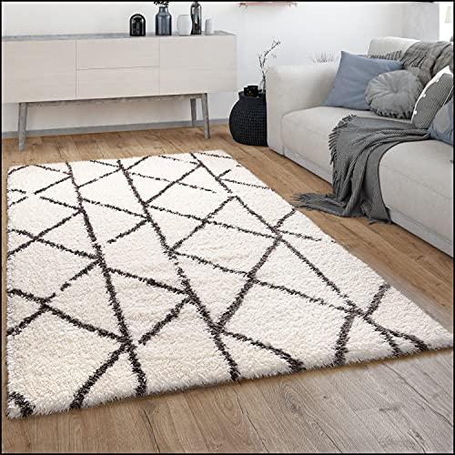 Alfombra Salón Pelo Largo Shaggy Pelo Largo Escandinava Rombos Moderna, tamaño:160x230 cm,...