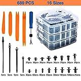 Kurala 680 PCS Car Push Retainer Clips 16 Most Popular Sizes Nylon Bumper Push Fasteners Rivet Clips Replacement Kit