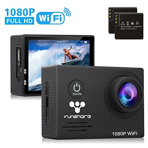 Waterproof Action Camera WiFi by Funshare, Underwater Sports Camera for Swimming, Cycling and Snorkelling, HD 1080P 14 Mega Pixels Resolution 170� Angle Lens Mountable Durable Batteries (Black)