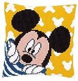 Vervaco–Kit para cojín de Punto de Cruz: cojín: Mickey–Peek-A-Boo
