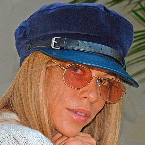 RACEU ATELIER Gorra Mujer CHLOE - Gorra marinera - Hecha en terciopelo - Visera y cinta de piel - Sombreros Mujer - Tipo Boina Francesa