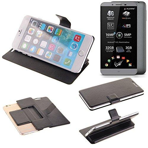 K-S-Trade® Handy Schutz Hülle Für Allview V2 Viper S Flip Cover Handy Wallet Case Slim Bookstyle Schwarz