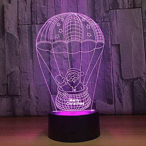 Santa Claus Hot Air Balloon 3D Lamp 7 Color Change Led Night Light Lamp Fixtures Touch Switch Lampen for Children Xmas Gift