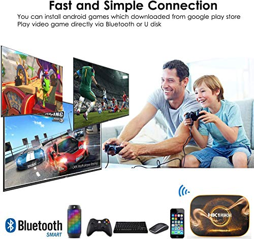 Android 10.0 TV Box 【4GB RAM 32GB ROM】 HK1 Ultra HD 4K Smart TV Box RK3318 Quad Core de 64 bits con Dual-WiFi 2.4G / 5.0G / BT 4.0 / 3D / H.265 / USB 3.0 TV Box Android Media Player miniatura
