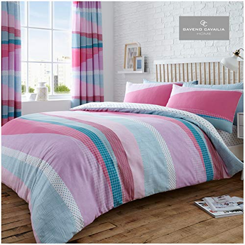 Gaveno Cavailia Dexter Striped Duvet Set, Cotton Blend Reversible Printed Geometric Bedding, Easy Care Bedset, 1 Quilt Cover and 1 Pillow Case, Single, Pink