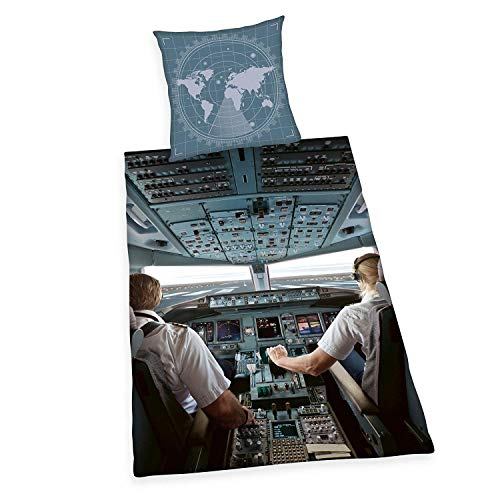 Unbekannt Bettwäsche Herding glatt Flugzeug Cockpit Pilot 135 x 200 cm Geschenk NEU Wow - All-In-One-Outlet-24 -