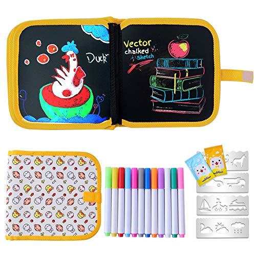 Ulikey Graffiti Zeichenbrett Tragbares Löschbares Abwischbares Malbuch für Kinder, Doodle Pad Löschbares Papier - 14 Seiten Wiederverwendbares Zeichenbrett mit 12 Farbstifte - Hase