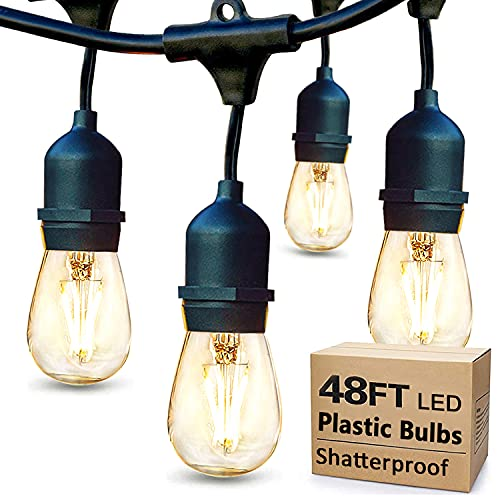 48FT LED String Lights Outdoor with 2W Dimmable Shatterproof Edison Vintage Bulbs, Waterproof Patio...