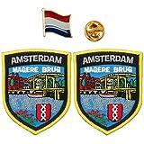 A-ONE 2 + 1 Stück Packung – Die Niederlande Amsterdam Magere Burg Patch 2 Stück + Niederlande Flagge Revers Amsterdam Schild Patch Flaggenpin
