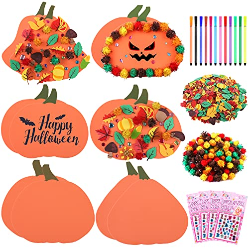 Aneco Halloween DIY Craft Kits Pumpkin Shape Foam with Foam Leaves Stickers Watercolor Pens Glitter Pom Poms Rhinestone Stickers for Halloween Decoration and Games