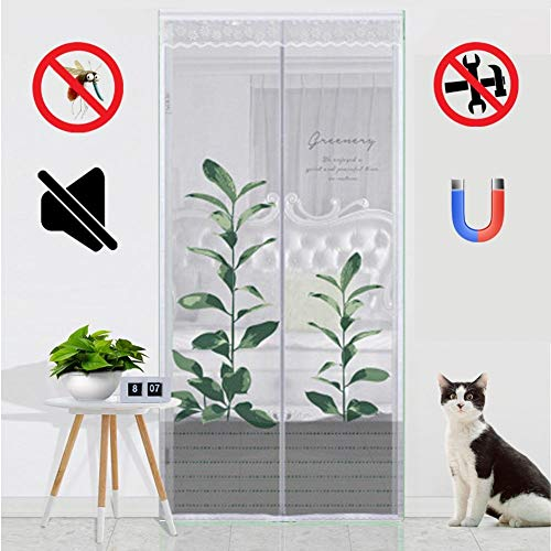 ROYWY Magnetic Fly Screen Door,Anti-Mosquito Curtain,Super Quiet Stripes Encryption,Keep Bug Out Let Fresh Air in for Balcony Sliding Living Room Children's Room/B / 90x210cm