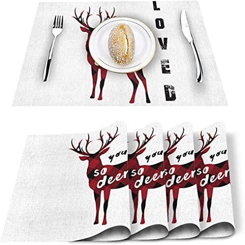 Store Set de 4 Sets de Table Blanc Rouge Noir à Carreaux, Tapis de Table en PVC résistant à la Chaleur napperon Lavable antidérapant pour décor de Table de Cuisine à Manger Banquet de Vacances