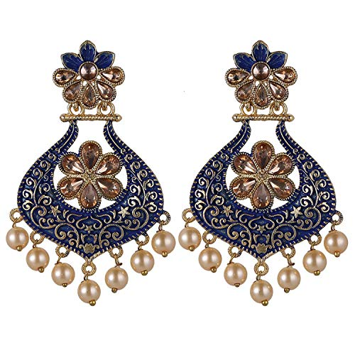 Efulgenz - Juego de pendientes colgantes de perlas de imitación de cristal y diamantes de imitación de la India Bollywood chapados en oro antiguo