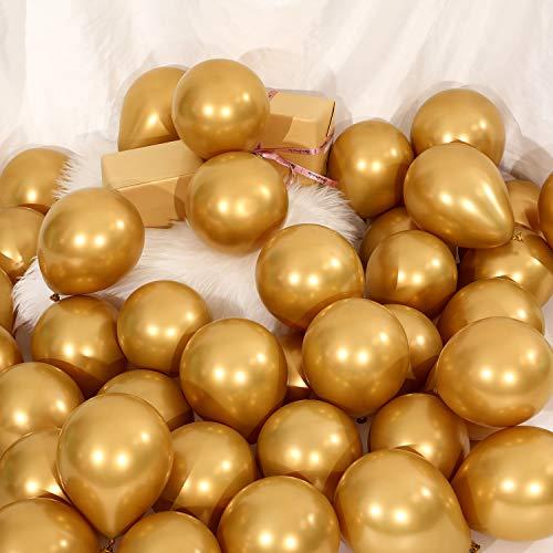 100 Stücke 5 Zoll Metallic Luftballon Dekorative Latex Ballon für Geburtstag Hochzeit Verlobung Festival Party Dekorationen (Gold)