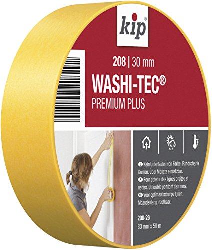 Kip Tape 208-29 Washi-Tec – Dünnes Abdeckband aus Spezial-Washi-Papier für extrem scharfe Farbkanten – Malerkrepp zum Streichen & Lackieren – 30mm x 50m