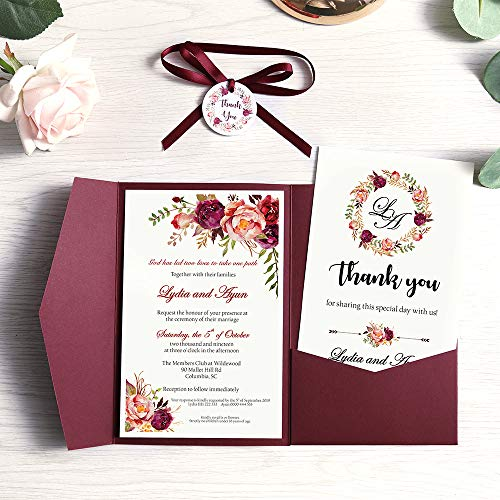Doris Home 50 pcs 4.7 x7.1inch Tri-fold wedding invitations for Bridal Shower, Dinner, Party with Ribbon and Tags, (Burgundy, 50pcs Blank)