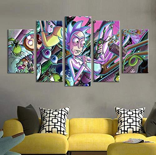 65Tdfc - 5 Teilig Leinwand Stück - Rick Und Morty - Kunstdruck Bild Vlies Leinwand Bild Moderne Wandbild XXL Wanddekoration Kunstdruck XXL 5 Stück