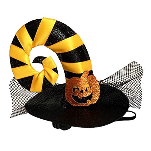 GLZKA Sombrero Divertido para Mascotas Tocado con Forma de Cinta Amarilla Viste a Halloween Suministros para Mascotas Dos Piezas