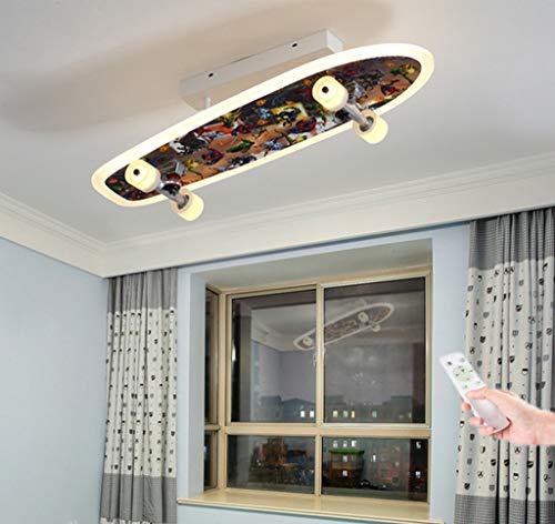 CRJ LED Skateboard Lampe Deckenleuchte Dimmbar 3000K-6000K Pendelleuchte Kinderzimmer Deckenlampe Junge Schlafzimmer Pendellampe Skateboardfahrer Decke Licht 30W/70Cm Metall/Acryl Beleuchtung,Ceiling