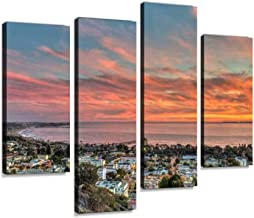 Vibrant Sky Over Small, Coastal Town Canvas Wall Art Hanging Paintings Modern Artwork Abstract Picture Prints Home Decoration Gift Unique Designed Framed 4 Panel