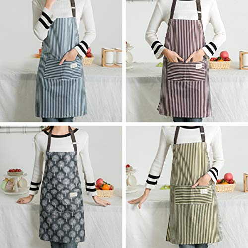 4 Pezzi Grembiuli con Tasche Grembiuli da Cucina Regolabili Impermeabili Bavaglino Cucina Grembiule per Cucina Cottura Pulizia Domestica(Marrone, Blu, Verde, Grigio)