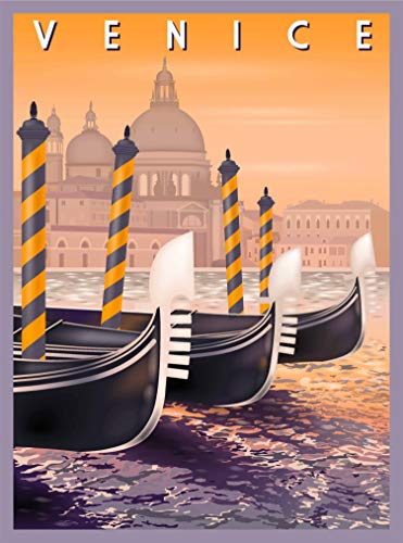 A SLICE IN TIME Venice Italy Gondolas Retro Travel Home Collectible Wall Decor Advertisement Art Poster Print. 10 x 13.5 inches