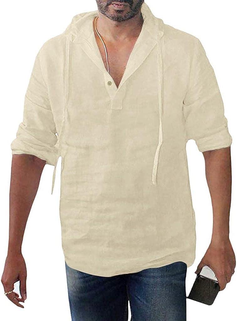 WUAI-Men Hoodie Linen Henley Shirts Long Sleeve Casual Lightweight Soft Hippie Yoga Cotton Tee Yoga Tops