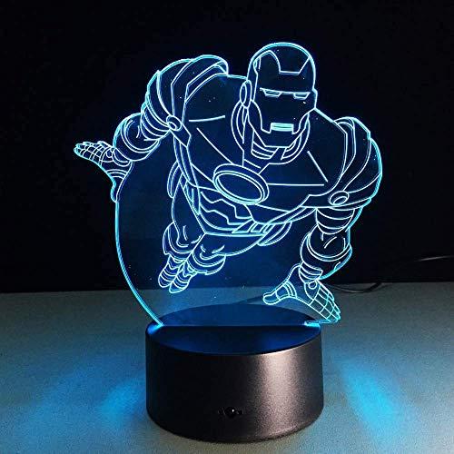 Luz estéreo Superhéroe Volador Superman Luz que cambia de color 3D Ilusión Bulbing Lámpara de ahorro de energía USB Iluminación