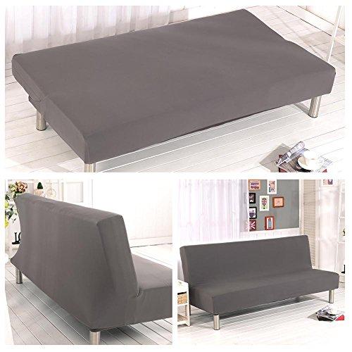Sofabezug ohne Armlehne, Polyester, Spandex, Stretch, Futon-Schonbezug, 3-Sitzer, elastisch, vollständig zusammenklappbar, passend für Klappsofa, Bett ohne Armlehnen grau