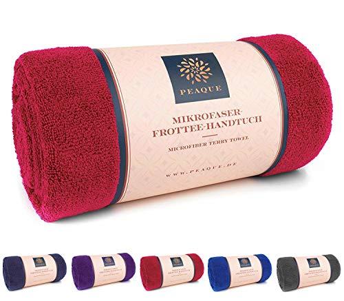 PEAQUE Microfaser Handtuch Frottee XL, Sauna-Handtuch, Bade-Handtuch, Reise-Tuch (Red, Weinrot, Rot, 100 x 200 cm)